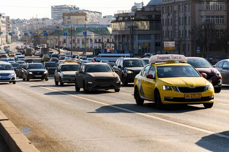 Moscow, Russia, February 2020. City transport in the center of Moscow during the day.