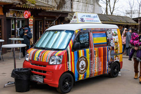 Moscow, Russia, February 2020. Street coffee shop of an old retro minibus. The car is equipped for selling coffee and drinks.