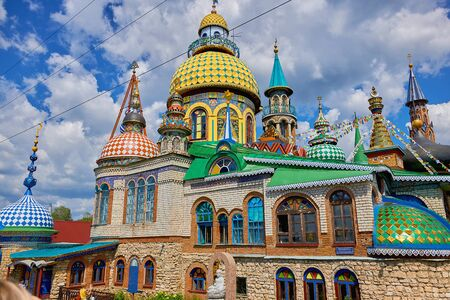 Russia, Kazan June 2019. Colorful Temple Of all Religions in Kazan on a summer day. beautiful universal temple of many religions.