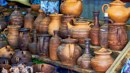 Belarus, Minsk, August 2019. A small street shop selling Souvenirs. A large assortment of handmade pottery.