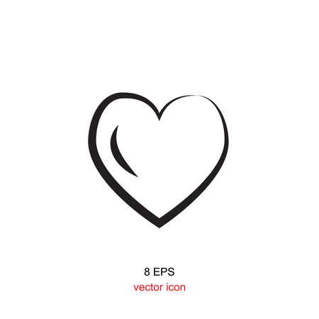 white heart: Vector heart black icon on white background
