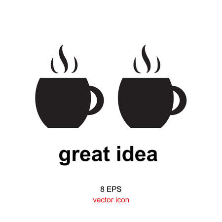 caf: Coffee with idea concept, great idea icon or logo coffee for break, caf or restaurant.