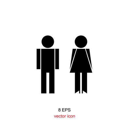 compliant: man and woman icon black on white background