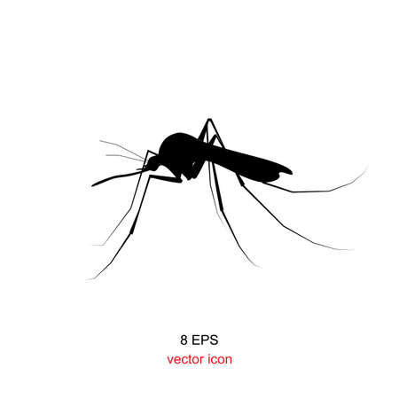 Black silhouette of mosquitoe bite isolated on white
