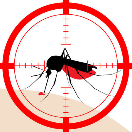 Mosquito vector icon silhouette isolated on white background Illustration