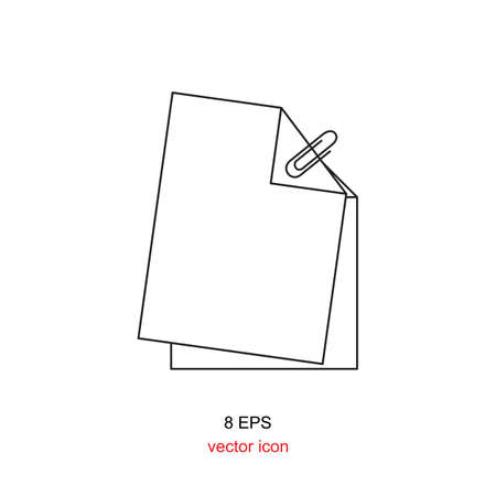 Attach Document vector icon. Style is flat symbol, gray color, rounded angles, white background. 向量圖像