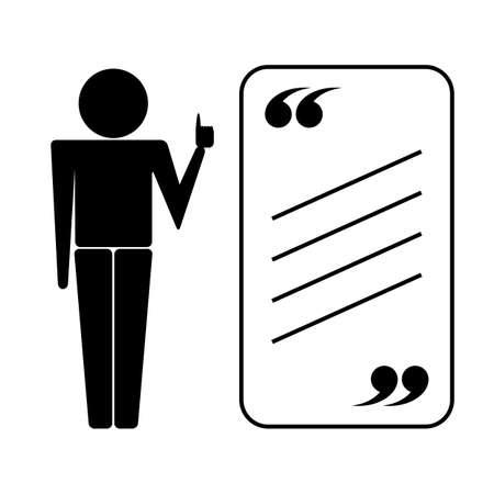 tutor: Tutor o profesor icono con cita. Vector aislado en blanco Vectores
