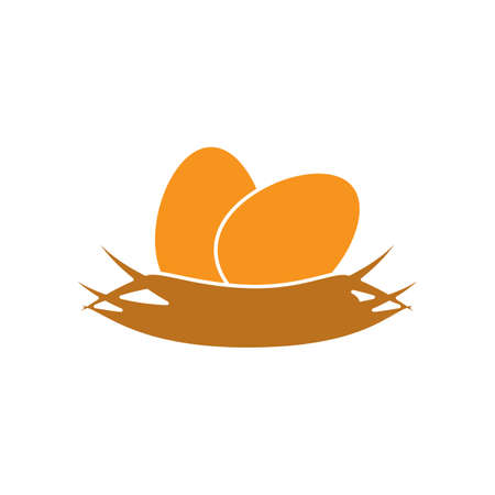 laying egg: nest simple icon, safe place for your eggs, vector symbol isolated on white background Illustration