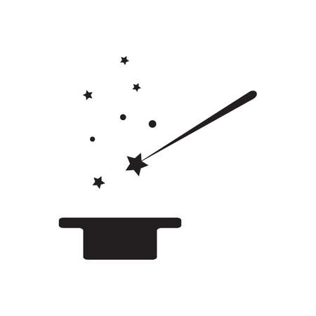 miracles: Magic wand vector icon. Magic wand and stars isolated