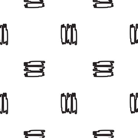 short: Hand-drawn seamless pattern with black short strips