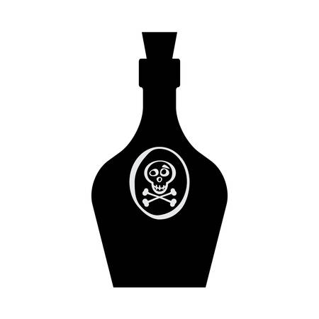 poison sign: Old retro bottle icon. Poison vector. Vintage bottle silhouette. Old medicine glass bottle isolated. Illustration