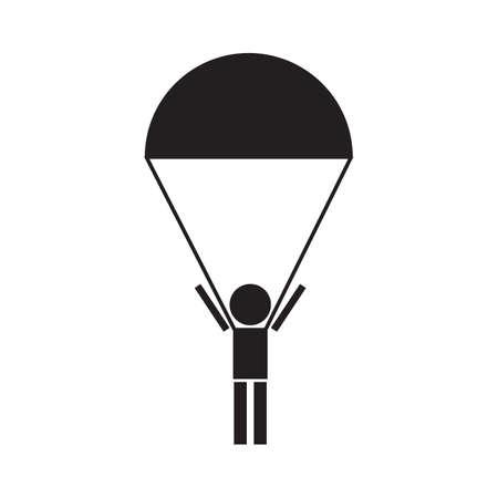 fallschirm: Skydiver, Fallschirmspringen Silhouetten Vektor-Symbol Illustration