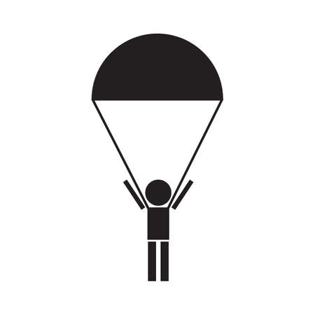 parachute jump: Skydiver, silhouettes parachuting vector icon Illustration