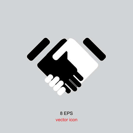 business hand shake: Simple vector black icon handshake isolated on white background.