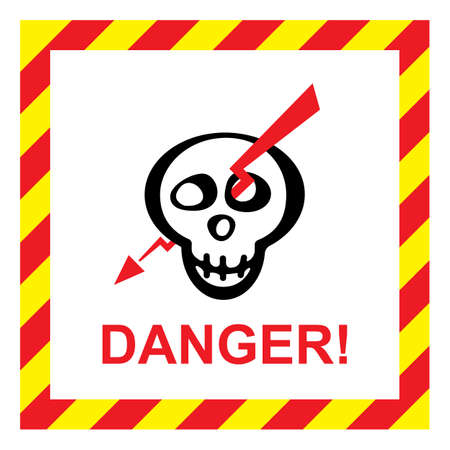 electrocution: Vector electric shock risk sign. Warning sign with skull and lightning Illustration