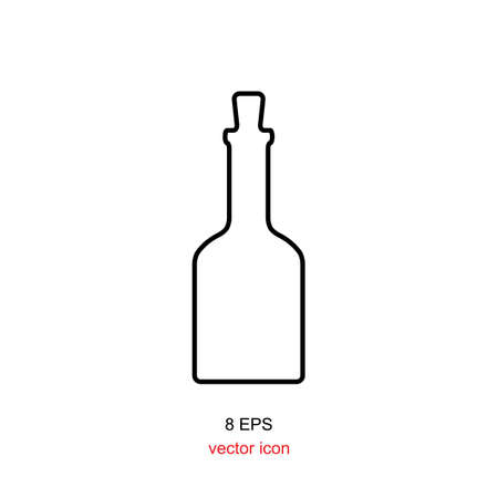 glass bottle: Old retro bottle icon. Bottle vector. Vintage bottle silhouette. Old medicine glass bottle isolated.