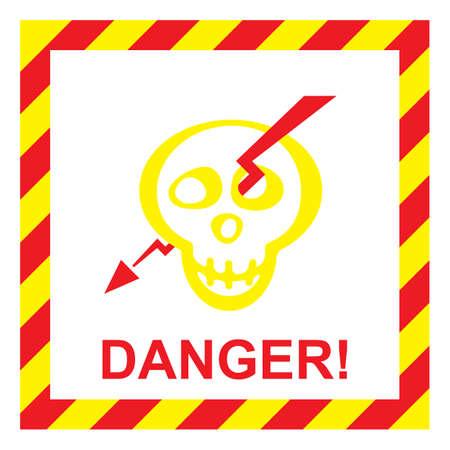descarga electrica: Vector de la muestra del riesgo de choque el�ctrico. Se�al de peligro con el cr�neo y el rel�mpago