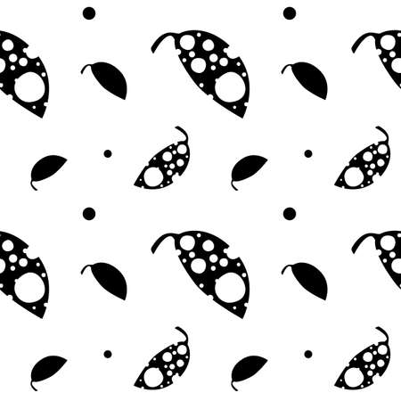 holey: Hand-drawn seamless pattern with leaves and circles. Holey vector leaves
