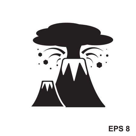 etna: Volcano Icon. Vector sign of active volcanic mountain
