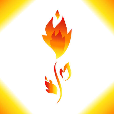fire flower: Fire flower vector icon isolated