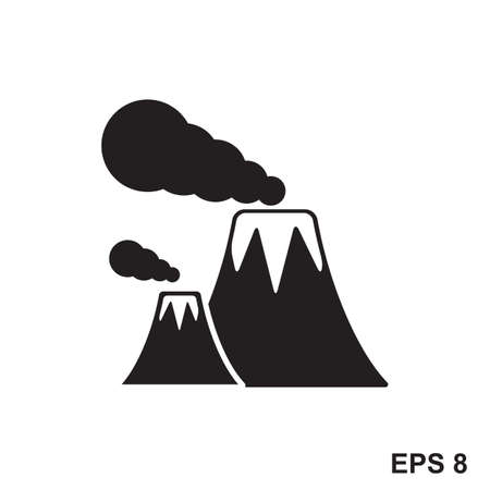 volcanic: Volcano Icon. Vector sign of active volcanic mountain