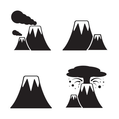 volcanic: Volcano Icons Set. Vector collection of active and extinct volcanic mountains Illustration