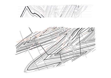 Vector drawing, geology, coal seams, coal mine. Pattern mining
