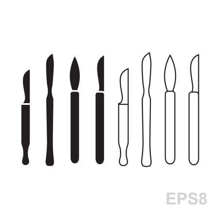 sterilized: Vector collection of scalpel icon isolated