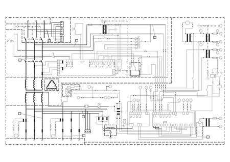 power supply: Schematic diagram, power supply, power circuit. Vector drawing