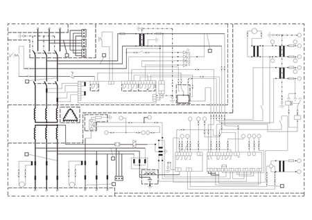 Schematische voorstelling, voeding, power circuit. vector tekening