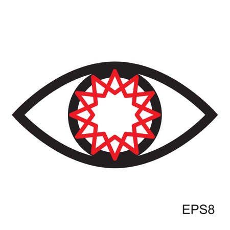 red eye: Red Eye icon or logo.  Optic sign vector isolated
