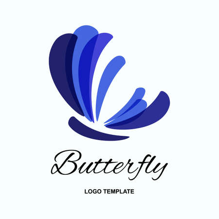 美容サロン、スパ、ビジネス、装飾の蝶のロゴ デザイン テンプレートです。分離された蛾ベクトル記号