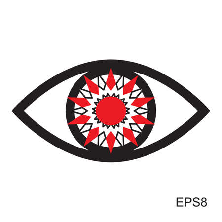red eye: Red Eye icon .  Optic sign vector isolated