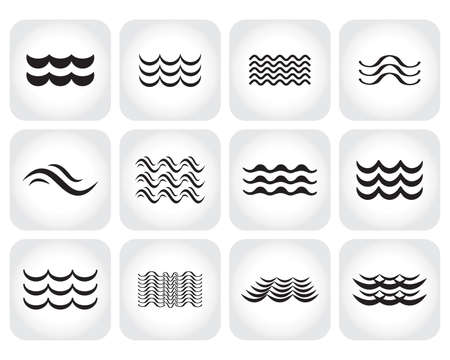 Wave icon vector set. Water liquid symbol isolated. Sea, river or oceanic flowing sign. Bending lines collection. Illustration