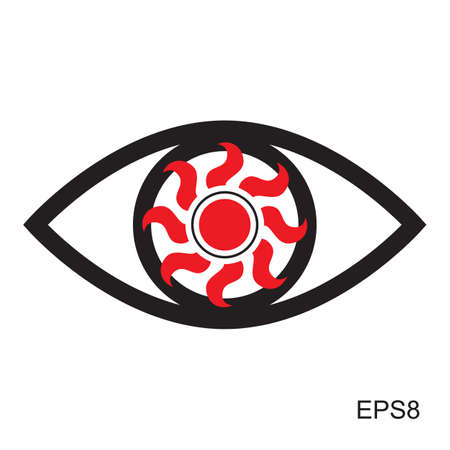 red eye: Red Eye icon    Optic sign vector isolated Illustration