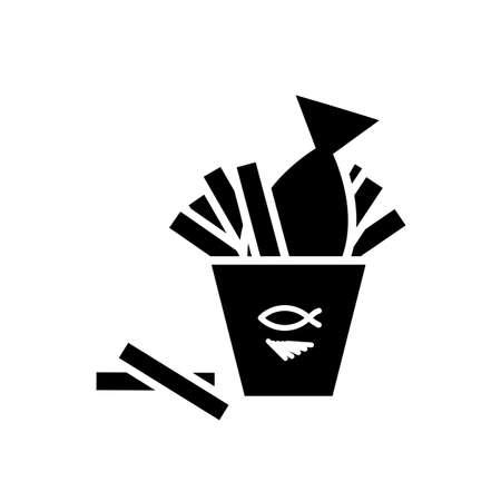 피쉬 앤 칩스 벡터 아이콘입니다. 레스토랑, 바, 술집을위한 패스트 푸드 그림 또는 메뉴 템플릿