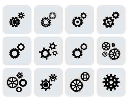 mechanism of progress: Simple gear, cog wheel or settings icon set. Machine, technology, equipment, engine, mechanism sign. Idea, development, progress stylized symbol collection. Part of clockwork isolated.
