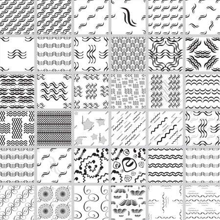 ustawić Wave bezszwowe wektor wzorca. Ręcznie rysowane monochromatyczne Kolekcja nowoczesnych tła.