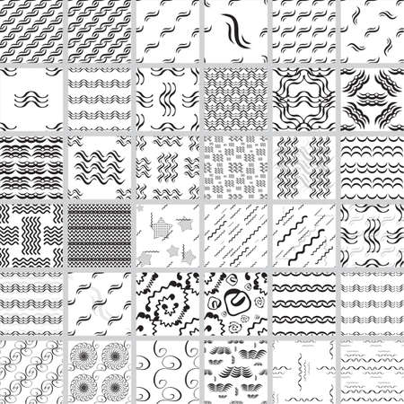 Wave seamless vector pattern set. Hand drawn monochrome modern background collection.