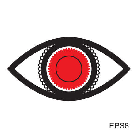 red eye: Red Eye icon or .  Optic sign vector isolated
