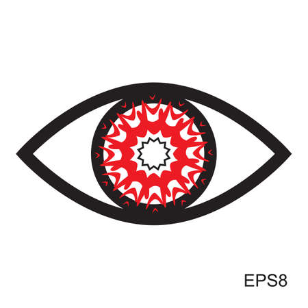 eye red: Red Eye icon .  Optic sign vector isolated