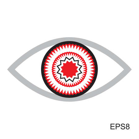 red eye: Red Eye icon   .  Optic sign vector isolated Illustration