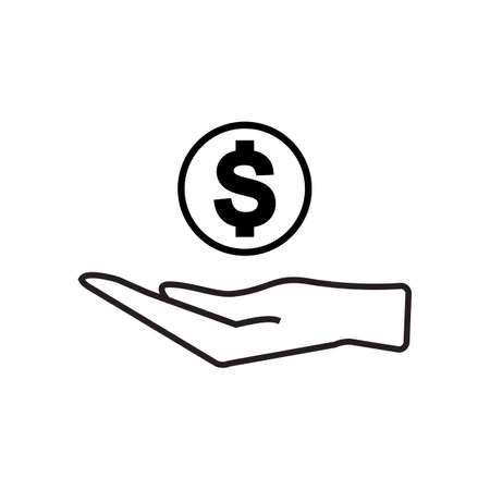 Beeldschriftteken van geld in de hand vector geïsoleerde Stock Illustratie