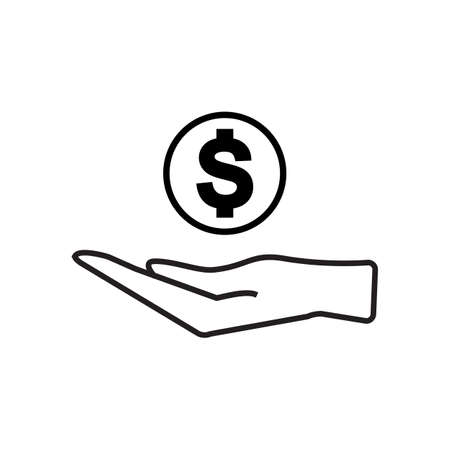 Pictograph of money in hand vector isolated Vectores