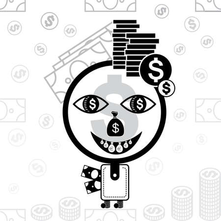 lucky bag: The character made of a purse, coins and banknotes. Money man vector stylized icon.