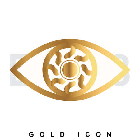 Golden icon   of an eye. Vision, optometrist, vigilance, optics, tracking a luxury vector symbol or sign