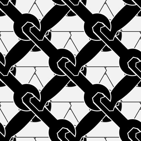 toolkit: Mechanical seamless toolkit pattern or wallpaper. Vector repeatable monochrome symbols on a white background.