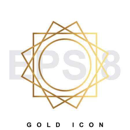 luxery: Luxery golden sun icon  . Vector illustration of shining symbol isolated on white. Illustration