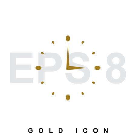 gold watch: Gold watch or clock icon  isolated. Gold illustration in flat style.  Trendy abstract emblem or symbol for business, internet. Web design element or template Illustration