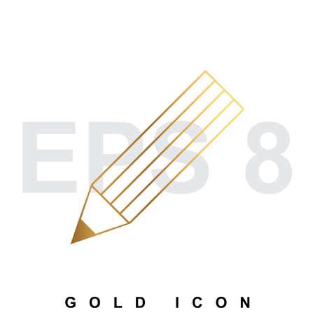 luxury template: Golden premium Pencil icon graphic web design element  template. Vector royal luxury symbol for business, internet, decoration. Modern abstract glittering metallic emblem Illustration